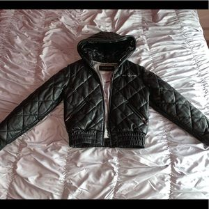 Leather Black Baby Phat Puffer Coat!!